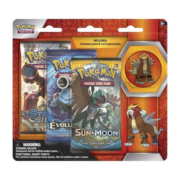 Pokemon 3 Boosters with Entei Pin