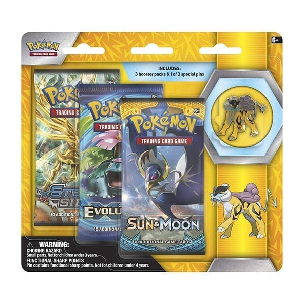 Pokemon 3 Boosters with Raikou Pin