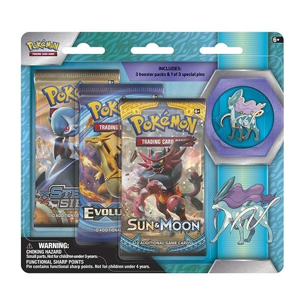 Pokemon 3 Boosters with Suicune Pin